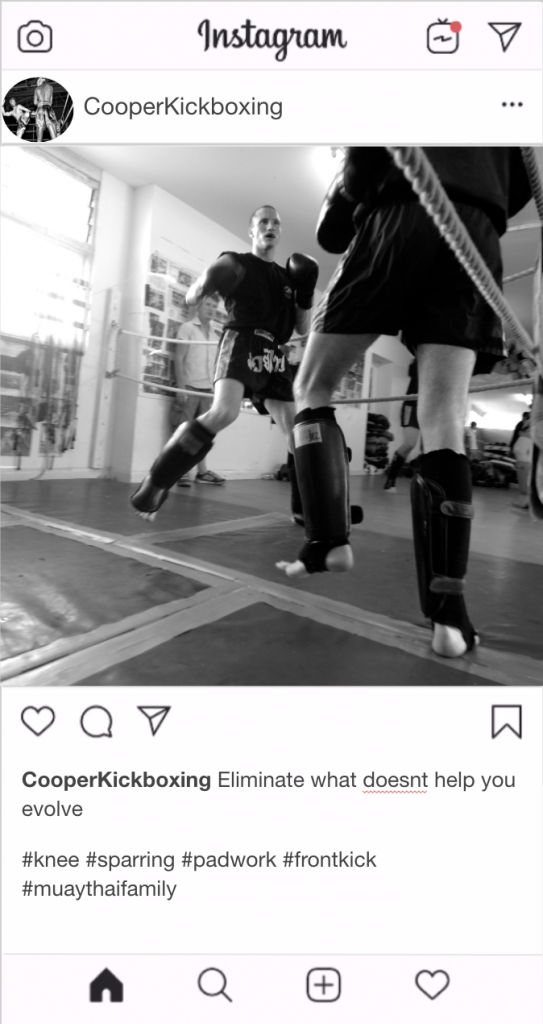 "Kickboxing Instagram Kickboxing Caption - ""Eliminate what doesn't help you evolve"""