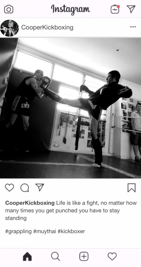 "Kickboxing Instagram Kickboxing Caption - ""Life is like a fight, no matter how many times you get punched you have to stay standing"""