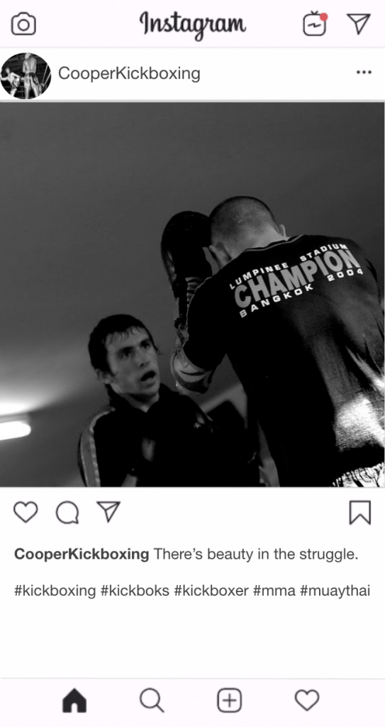 "Kickboxing Instagram Kickboxing Caption - ""There's beauty in the struggle"""